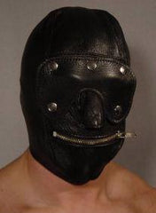 Slave Hood with Blindfold and Zip Mouth