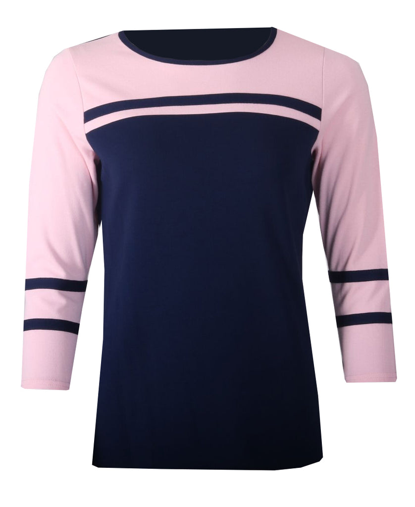 Stripe 3/4 Sleeve Top - Navy/Pink
