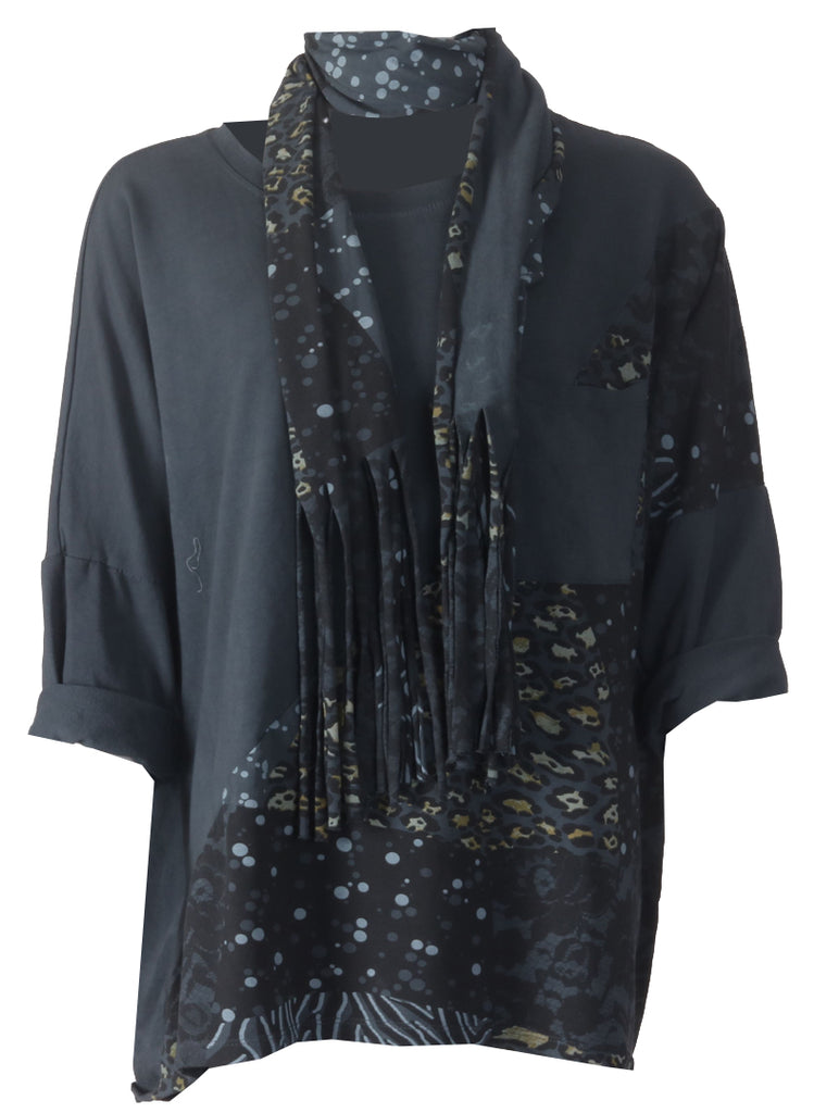Leopard Scarf Top - Charcoal
