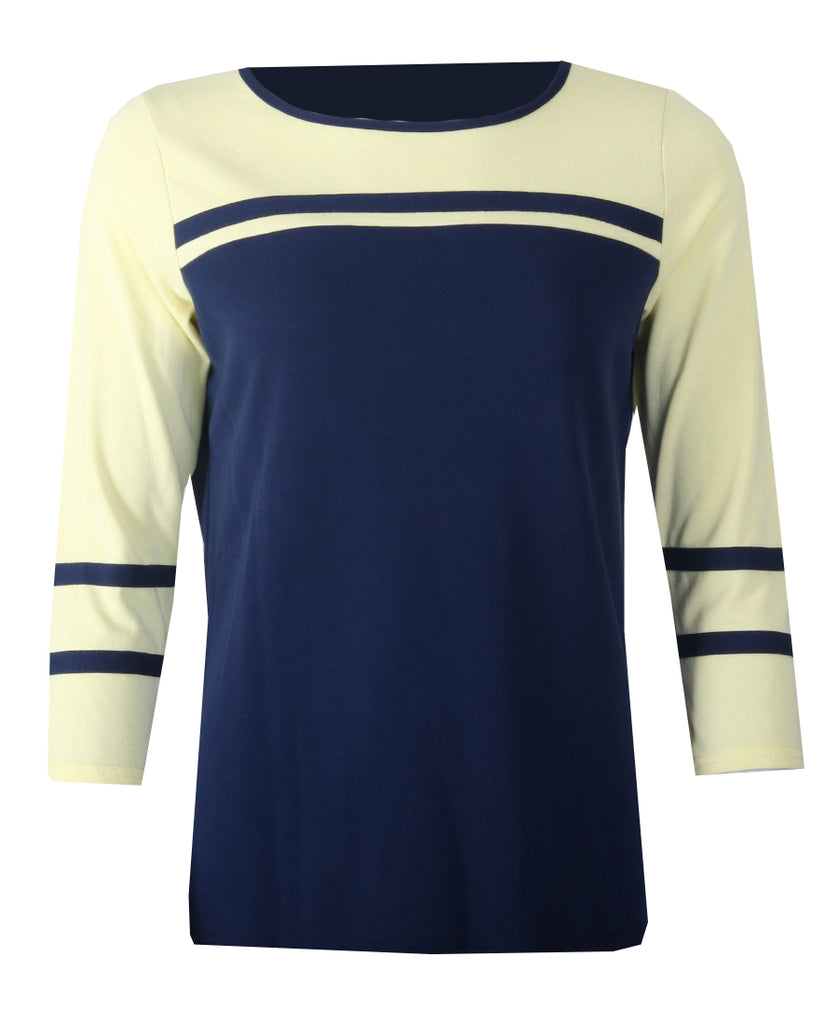 Stripe 3/4 Sleeve Top - Navy/Lemon