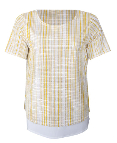 Pleated Short Sleeve Top - Yellow