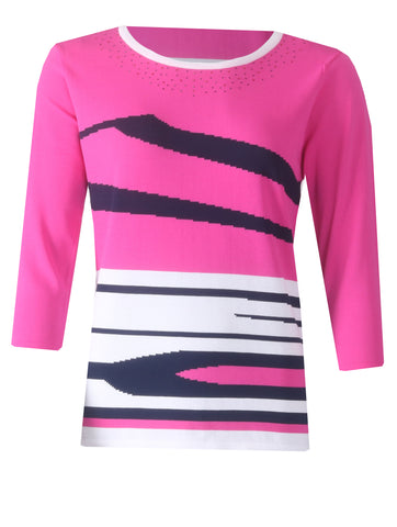 Diamonte Jumper - Pink/Navy