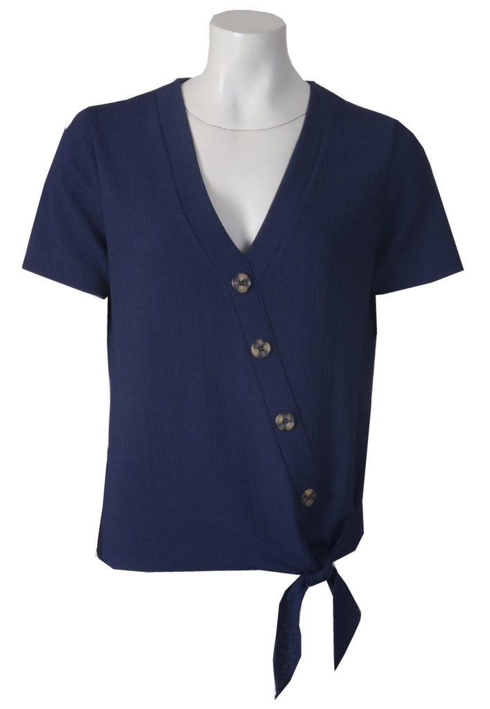 Button Tie Front Blouse - Navy