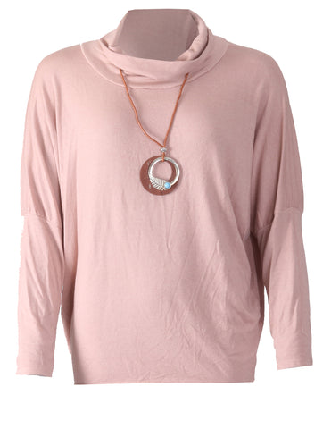 Top with Necklace - Pink