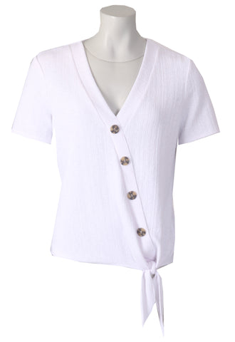 Button Tie Front Blouse - White