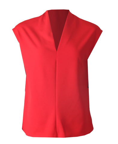 Sleeveless V Neck Top - Red