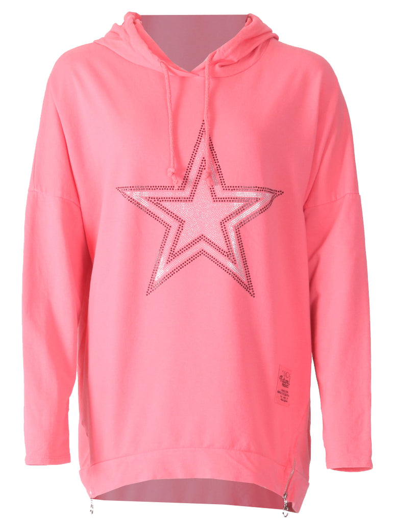 Silver Star Hooded Zip Top - Coral