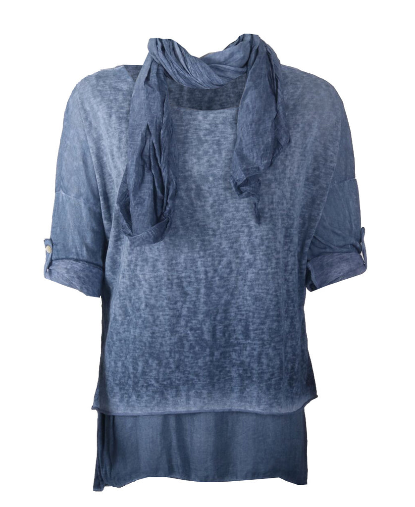 Scarf Top - Navy
