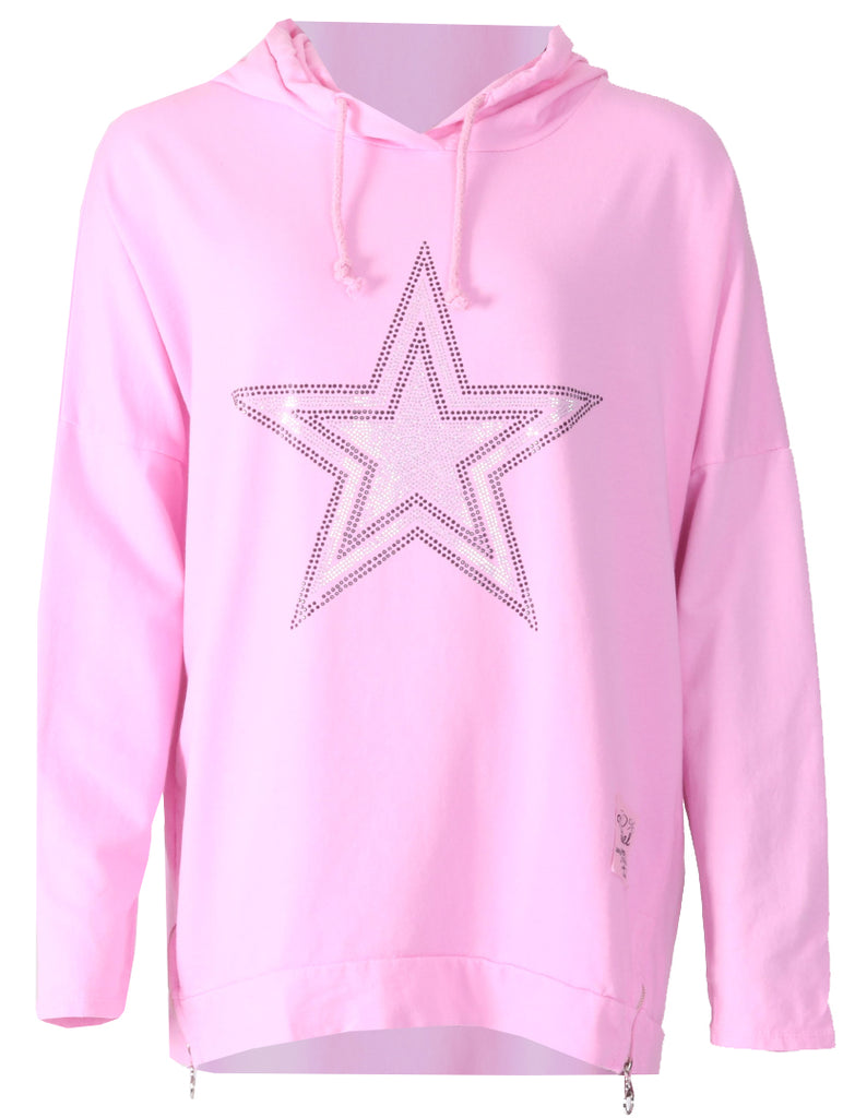 Silver Star Hooded Zip Top - Baby Pink