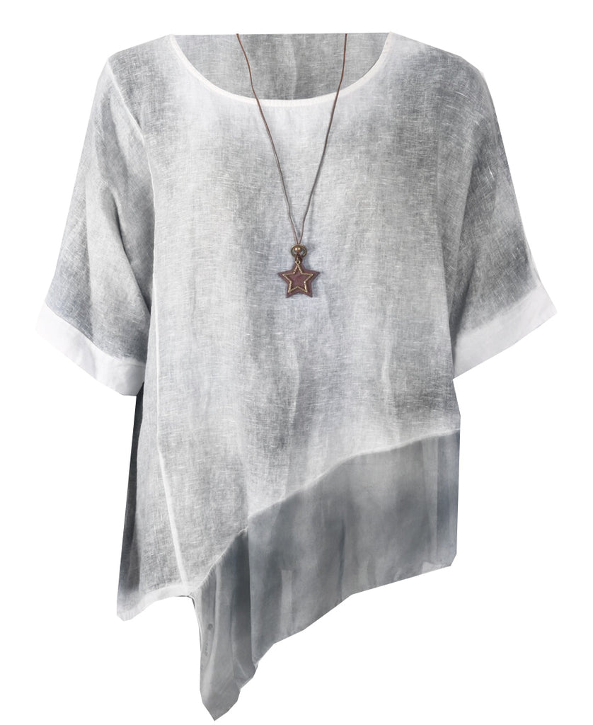 Star Necklace Top - Light Grey