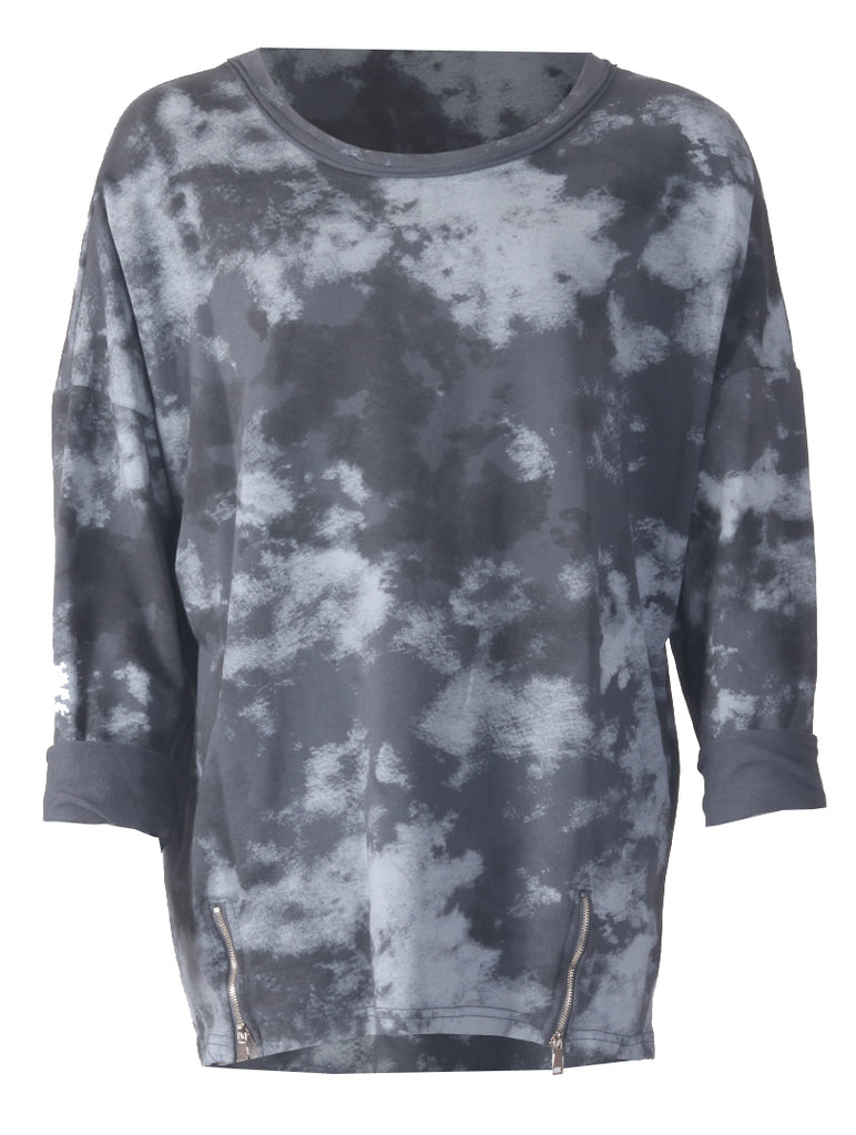 Tie Dye Zip Top - Charcoal