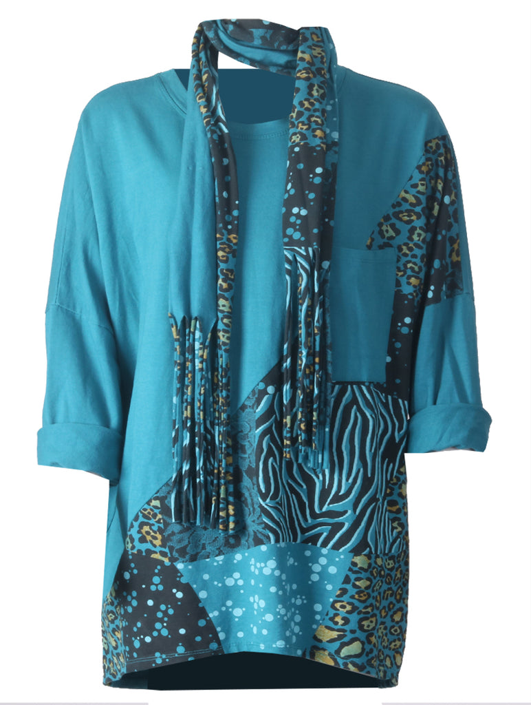 Leopard Scarf Top - Teal