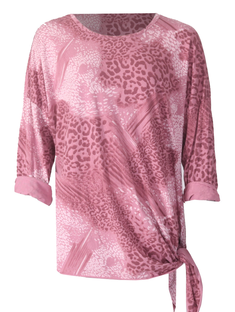 Long Sleeve Tie Top - Pink