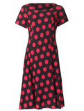 Spot Lined Dress - Red/Black
