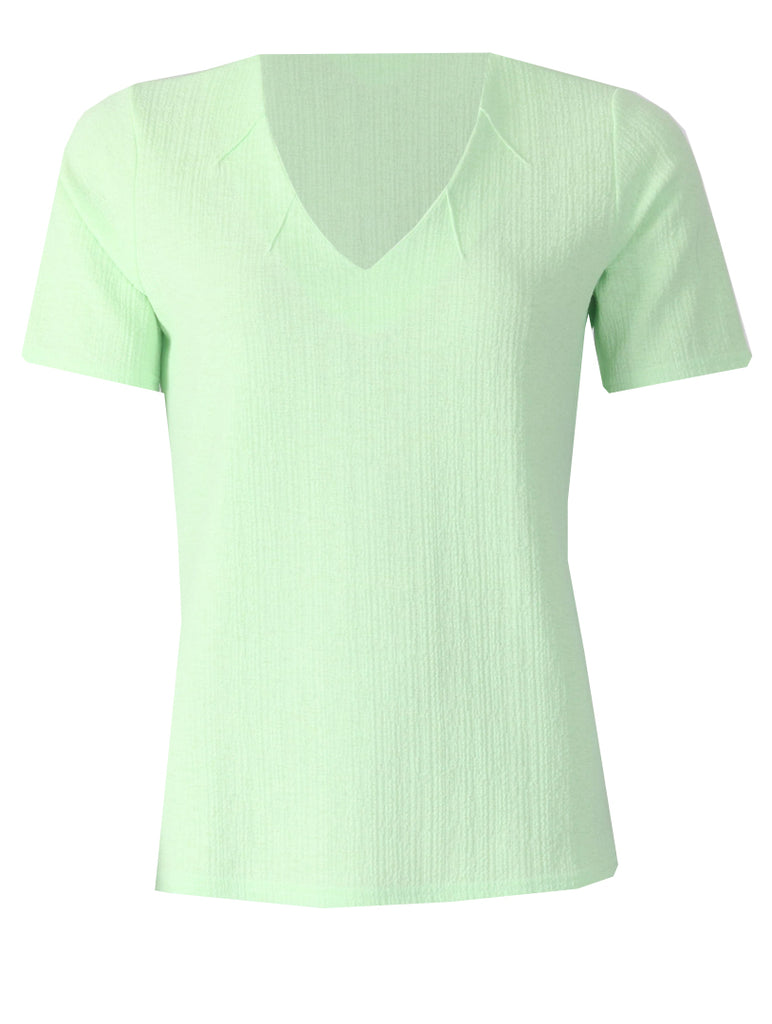 V Neck with Notches Top - Mint