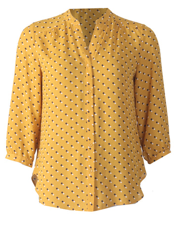 3/4 Sleeve Button Blouse - Ochre