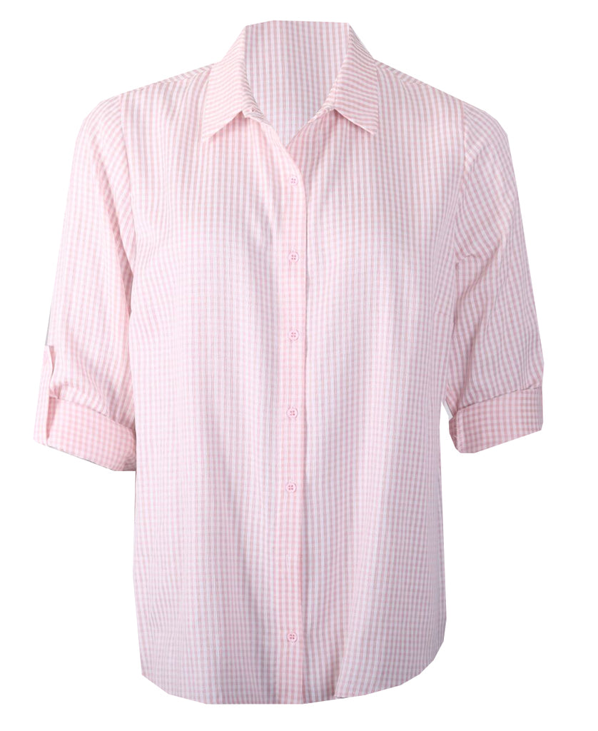 Turn Back Cuff Blouse - Pink