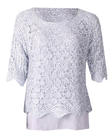 Luxury Lace Top - Silver