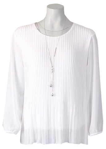 Long Sleeve Pleated Top - White