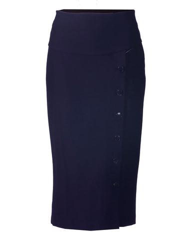 Side Button Skirt - Navy