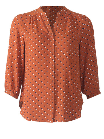3/4 Sleeve Button Blouse - New Tobacco