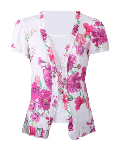 Floral Print Top - Pink/White