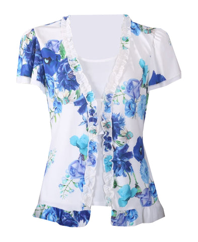 Floral Print Top - Blue/White