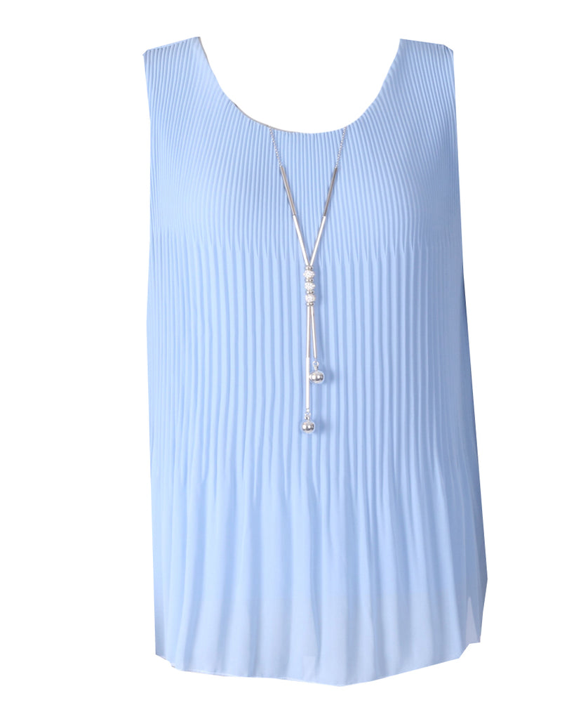 Sleeveless Ribbed Top - Blue