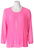Long Slv Pleated Blouse - Pale Pink
