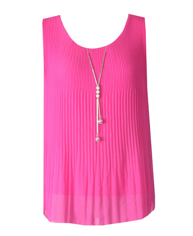 Sleeveless Ribbed Top - Magenta