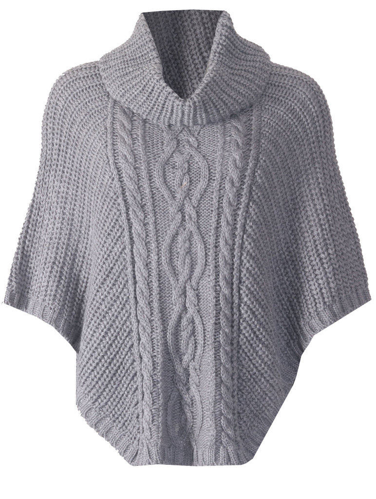 Cowl Neck Poncho - Charcoal