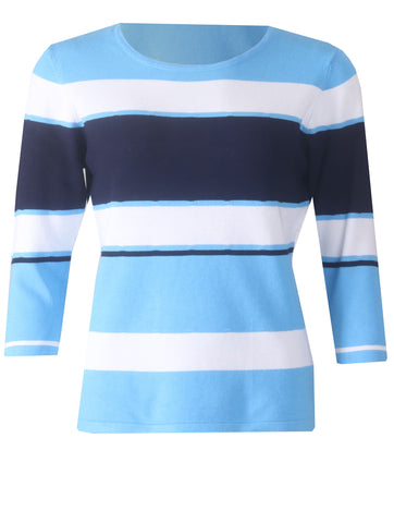 Stripe Knitwear - Cornflower/White/Navy