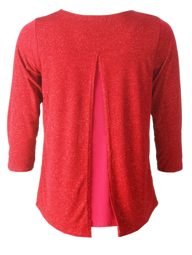 3/4 Sleeve Glitter Top - Red
