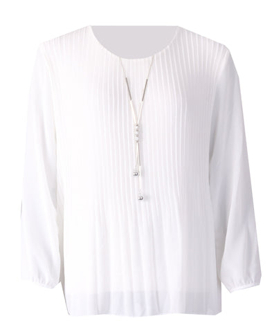 Long Sleeve Pleated Top - Ivory