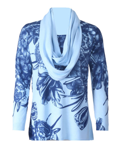 Luxury Scarf Jumper - Bluebell