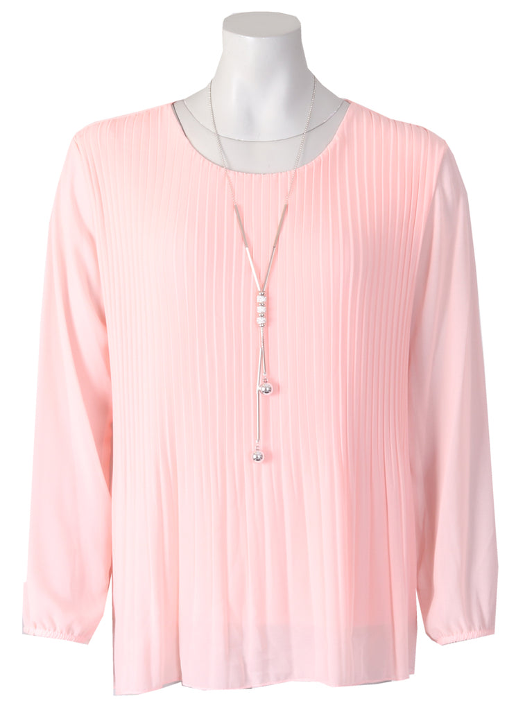 Long Slv Pleated Blouse - Baby Pink