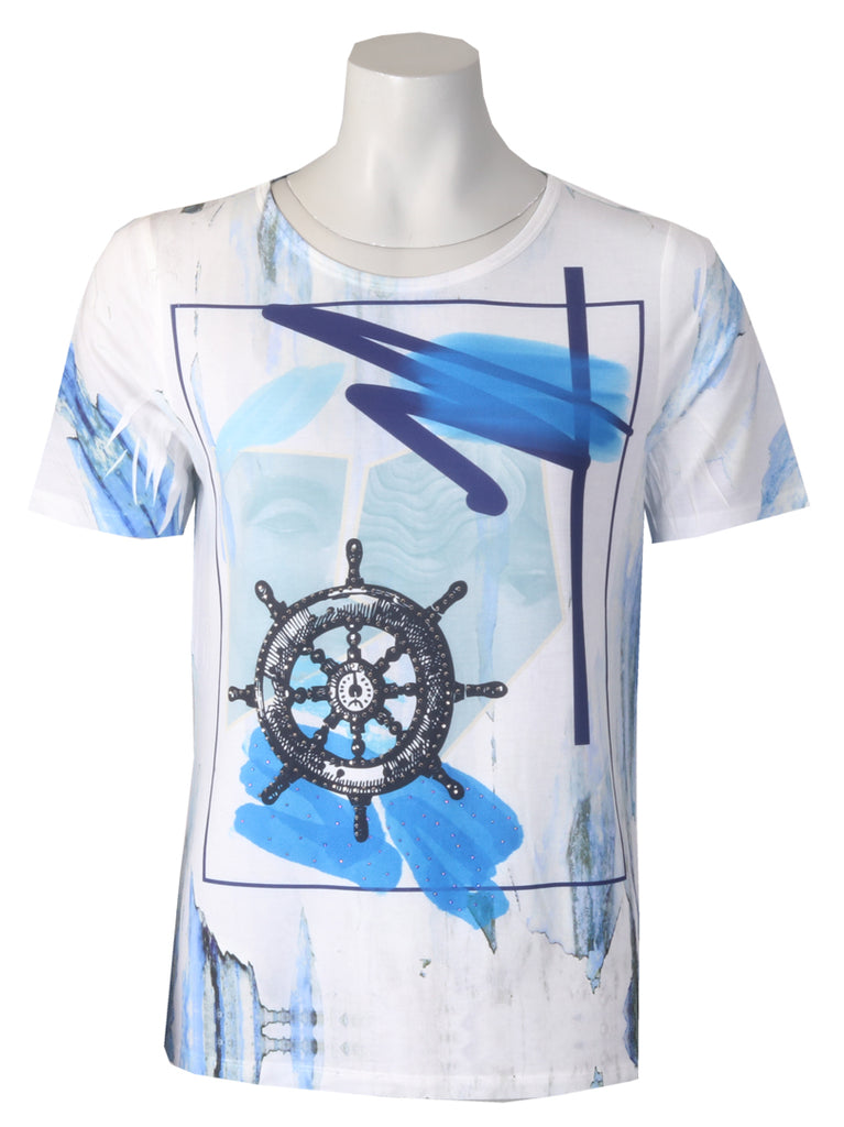 Ships Wheels Tshirt - Bright Blue