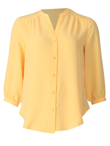 Open Collar Blouse - Yellow