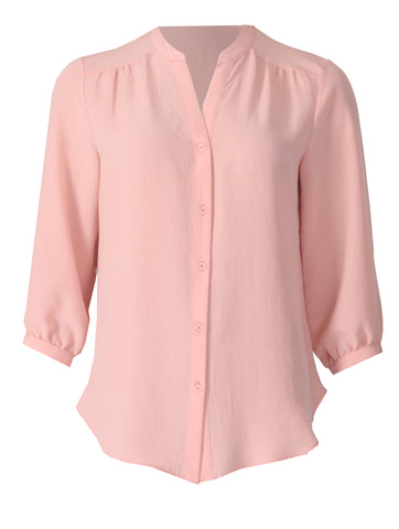 Open Collar Blouse - Blush