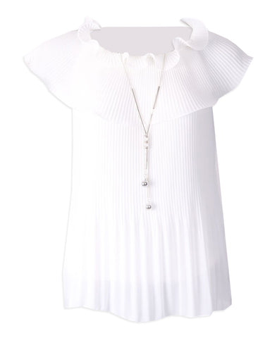Pleated Cowl Top - Ivory