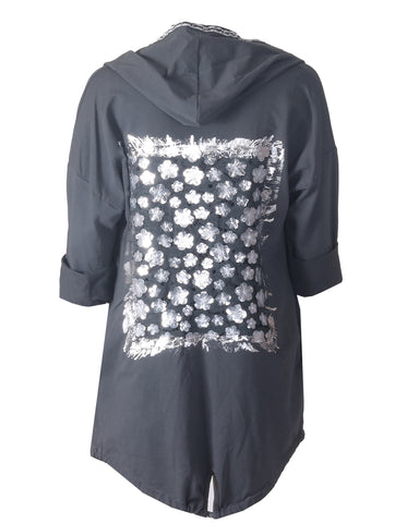 Glitter Hooded Top- Grey