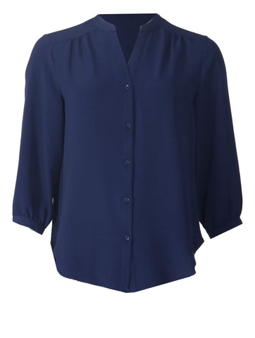 Open Collar Blouse - Navy
