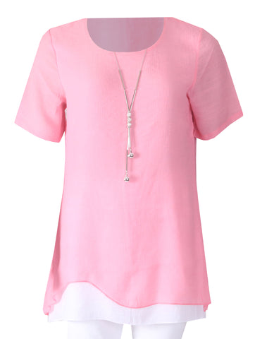 Tunic with necklace - Pink