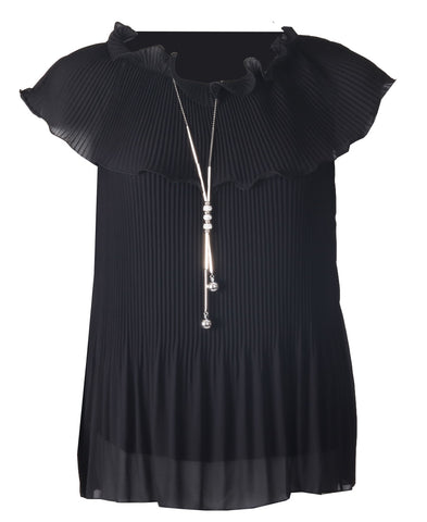 Pleated Cowl Top - Black