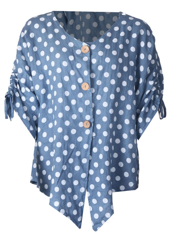 Button Polka Dot Top - Denim