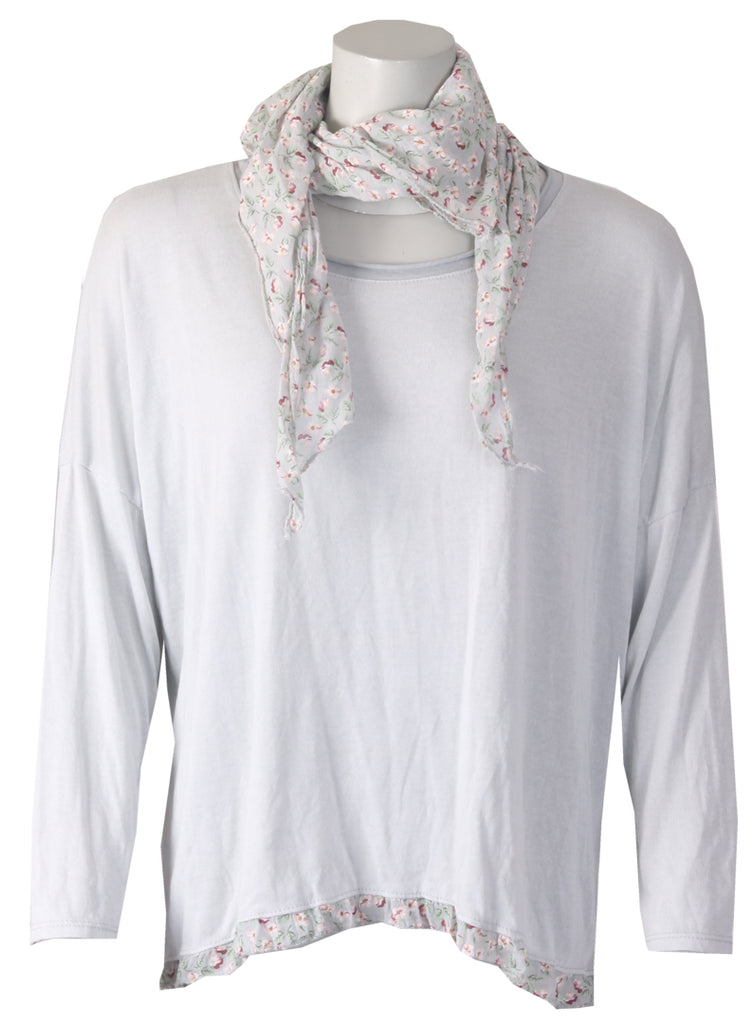 Floral Scarf Top - Silver