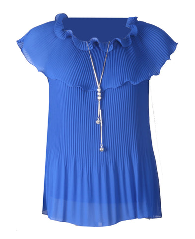 Pleated Cowl Top - Royal