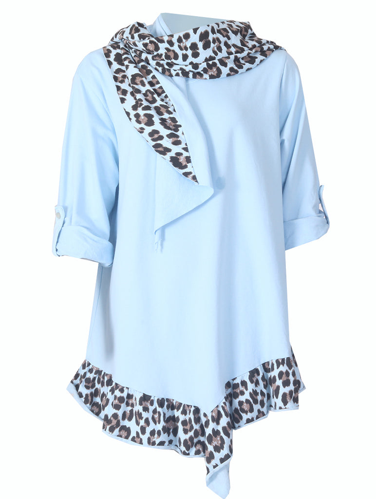Tunic with Scarf - Sky Blue