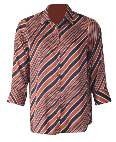 Stripe Blouse - Burnt Orange
