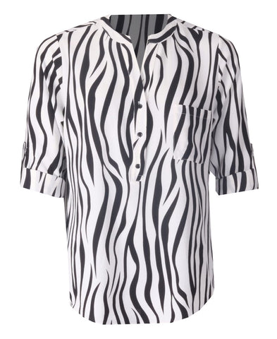 Open Neck Blouse - Black/White
